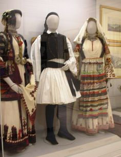 Folk Costumes, Benaki Museum (Athens) by David. Greek Traditional Dress, Traditional Outfits, Folk Fashion, Ethnic Fashion, Greek Costumes, Dance Costumes, Greece Art, Athens Greece, Benaki Museum