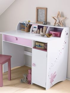 Grand bureau fille blanc th me f e blanc violet for Bureau junior fille