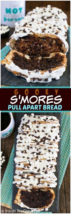 Gooey S'mores Pull Apart Bread - this easy chocolate and cinnamon bread starts with canned biscuits. Marshmallow glaze make this an awesome breakfast or snack recipe!