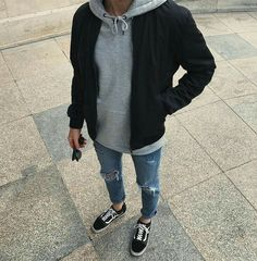 Grey hoodie with black jacket - Street Style - Mens outfits - Tomboy Fashion, Tomboy Outfits, Streetwear Fashion, Casual Outfits, Mens Fashion, Fashion Outfits, Mens College Fashion, Style Fashion, Teen Guy Fashion