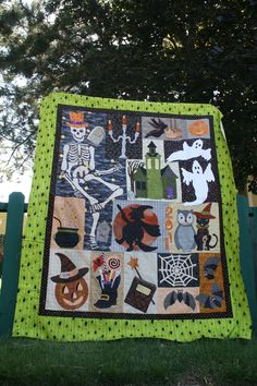 Halloween Quilt 9-11 Mr. Bones,  My son wants this quilt, made by Carol Day