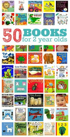 50 Books for 2 year olds by @ No Time For Flash Cards . Many of these listed books will be featured in our Tot School this year on The Educators' Spin On It! 50 awesome books for 2 year olds. Is your favorite children's book on the list? Toddler Fun, Toddler Activities, Toddler Learning, Kids Fun, Toddler Storytime, Childcare Activities, Activities For 2 Year Olds, Toddler Gifts, Reading Activities