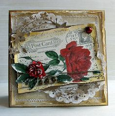 Catalina wreath, big post card stamp, flower stamp - maybe could try an hydrangea (what else!), doily - and lots of tearing, distressing, sponging - all the elements I love in a card. Beautiful