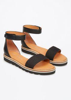 MARC O'POLO, Damen, Schuhe & Accessoires, Schuhe, Flache Sandalen, aus Rindnubuk- und Lammleder