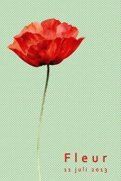 Geboortekaartje meisje - bloem, klaproos - Pimpelpluis https://www.facebook.com/pages/Pimpelpluis/188675421305550?ref=hl (# bloem - roos - klaproos - eenvoudig - aquarel - watercolour - vintage - origineel)