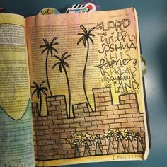 The Fall of Jericho.  #illustratedfaith #illustratedfaithdaily2016 #biblejournaling #journalingbible #shepaintstruth #watercolor #handlettered #lettered #moderncalligraphy #joshua6 #thefallofjericho #jericho #horns #wall #marchmadness #palmtrees #fame #success #blowyourhorn #bible #scripture #encouragement #blessed