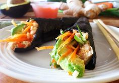 Salmon Salad Handrolls   These rolls are a nutritious powerhouse and so yummy :)