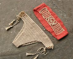 Set of bandeau crochet bikini top and bottom with tassels. Soft pastel shades - orange, cream. Retro, boho chic style with crochet lace at the back . Sure