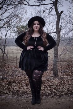 Soft grunge, fashion, fatshion, fat babe, effyourbeautystandards, grunge, alternative, velvet dress, all black, black, ripped tights, tights, hat, dress, dark, fall, style, hair, women, long hair