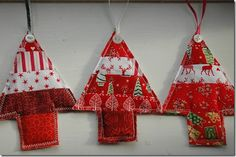 Linda's festive little fabric Christmas trees. Fabric Christmas Trees, Christmas Ornaments, Festive, Holiday Decor, Projects, Log Projects, Blue Prints, Christmas Jewelry, Christmas Decorations
