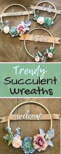 Succulent Wreath with Family Name or Custom Greeting - Custom Wreath - 12in Hoop Wreath - Custom Wreath - Farmhouse - Rustic Decor - home decor - diy - plants - outdoor decor - summer - trendy - afflink