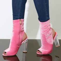 Botas Mujer Pink Velvet Transparent Chunky Heel Short Boots Open Toe Cuts-out Pink Heels Gladiator Summer Sandal Booties Gladiator Sandals Heels, Bootie Sandals, Bootie Boots, Shoes Heels, Flats, Hot Shoes, Crazy Shoes, Stilettos, Pumps