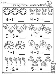 Spring Math & Literacy Packet Practice subtraction with picture support! Math Addition Worksheets, 1st Grade Math Worksheets, Subtraction Worksheets, Kindergarten Worksheets, Subtraction Kindergarten, Kindergarten Math Activities, Math Literacy, Preschool Math, Math For Kids