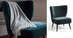 petit fauteuil velours bleu paon - Le blog déco de MLC