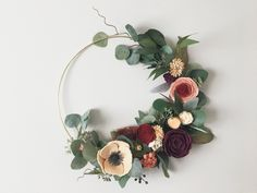 Jewel Tone Fall Modern Felt Flower Wreath Minimal Autumn