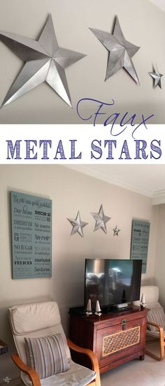 Tutorial on how to make faux metal stars out of common household items and silver spray paint