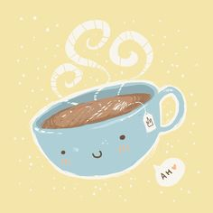 Happy Coffee, Coffee Love, Tea Puns, Cake Illustration, Happy Hot, Tea Art, A Day In Life, Drinking Tea, Cartoon Art