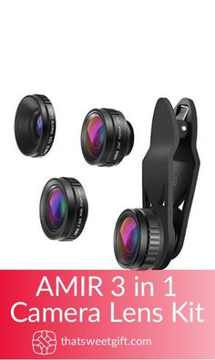 If you have a budding photographer in your life that uses their phone for photographing, then they need an AMIR cell phone lens. This is a 3 in 1 set. Photographer Gifts, Gifts For Photographers, Phone Lens, Camera Lens, Wide Angle Lens, Iphone 11, Lenses, Smartphone, Samsung
