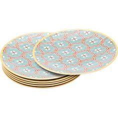 Blue 9 Inch Melamine Yellow Pink Green 180 Degrees Pastel Polka Dot Picnic//Dinner Plate Set of 4