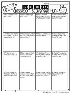 The end of the year can be difficult, both for the teacher and the students! Here is a fun way to activate their brains, recall things they've learned, and get them moving around the room! Created for grade, but great for all grades!Please be kind and Beginning Of The School Year, Last Day Of School, Summer School, School Stuff, Starting School, Middle School, End Of Year Activities, Classroom Activities, Classroom Ideas