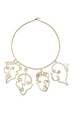 Shop Four Faces Necklace. This **Rosie Assoulin** necklace is rendered in brass and features four charms fashioned as faces. Cute Jewelry, Charm Jewelry, Jewelry Art, Jewelry Accessories, Jewelry Necklaces, Fashion Jewelry, Jewelry Design, Bracelets, Brass Jewelry