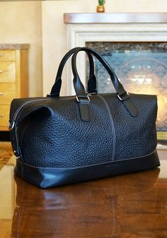 The MacCase Premium Leather Overnight Bag looking resplendent at the Four Seasons Aviara Resort Leather Overnight Bag, Black Satin, Travel Bags, Branding Design, Shoulder, Classic, Seasons, Decoration, Fashion