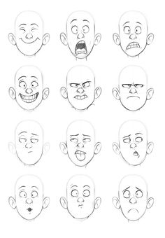 A series of drawings where I test pushing expressions on the same face.