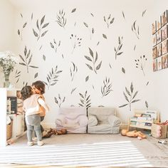 These Watercolor Leaves Decals brighten our spirits. We love how @house.of.darlings styled them in the playroom! Playroom Wall Decor, Modern Playroom, Nursery Decor, Playroom Ideas, Nursery Ideas, Playroom Printables, Watercolor Leaves, Inspiration For Kids, Project Nursery