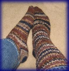 Mrs D Crochets Toasted Almond Crunch Socks... she says pattern is written for a D hook, but use an F hook instead.