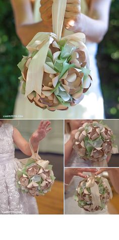 DIY Paper Flower Wedding Kissing balls. For more ideas, inspiration and free printable visit www.liagriffith.com