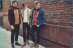 Ivan Kozak, Reid Rohling, and Linus Wordemann sport classic Harrington jackets and turtleneck sweaters for Ben Sherman's fall-winter 2016 campaign.