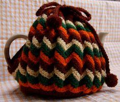 ❥Knit & Crochet Tea Cosies, Mug Hug Snugs and Cuppa Cosies.   knitted tea cosy