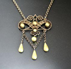 Antique MARIUS HAMMER Necklace. Norway Enamel. 930 Silver