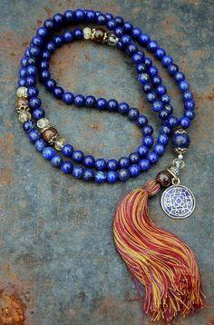 lapis lazuli -                                                      Lapis Lazuli Mala necklace - Made by look4treasures