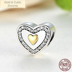 2017 New 925 Sterling Silver Always In My Heart Gold Color Charm Fit Original Pandora Bracelet Necklace Authentic Jewelry Pandora Style Charms, Love Charms, Argent Sterling, Sterling Silver, Jewelry Sets, Jewelry Making, Heart Of Gold, Heart Ring, Charmed