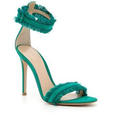 Satin Caribe Sandals ($481) ❤ liked on Polyvore featuring shoes, sandals, womenshoessandals, fringe sandals, ankle tie shoes, leather sole sandals, ankle wrap sandals and gianvito rossi