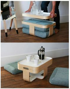 Mister T is a multi-functional piece of furniture--it's a table, tray, seat, and footrest all rolled into one. Snazzy.   Tiny Homes