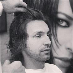 Pirlo at the hairdresser! The beard is gone :)