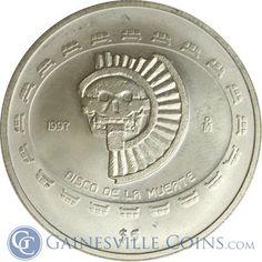 1997 Mexico Disco De La Muerte $5 1 oz Silver Pre-Columbian Coin http://www.gainesvillecoins.com/products/166913/1997-mexico-$5-disco-de-la-muerte-1-oz-silver-pre-columbian-coin.aspx