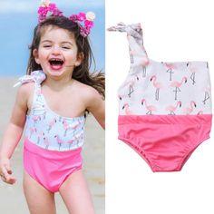 Baby Kids Girls One Pieces Cartoon Stripe Cat Swimwear Swimsuit With Caps