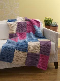 beginner crochet pattern-- bright and easy blocks afghan