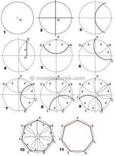 Sacred Geometry: Polygons + Polygrams (Credit: Hermetic Order of the Golden Dawn. Geometry Pattern, Mandala Pattern, Zentangle Patterns, Pattern Art, Mandala Art Lesson, Mandala Drawing, Mandala Painting, Geometric Drawing, Geometric Art