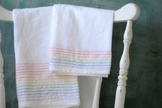 Rainbow dish towels -- Super easy DIY, can be done in any color combo to match the kitchen.