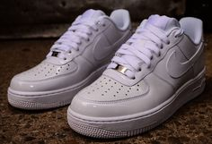 Nike Air Force 1 Low White on White Patent