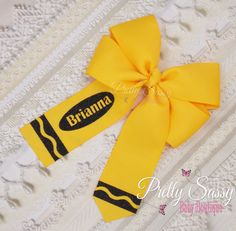 Back to School Personalized Hair Bow, Crayon Hair Bow, B2S,  Pinwheel Bow, Yellow Bow, Black and Yellow Bow Ribbon Hair Bows, Diy Hair Bows, Bow Hair Clips, Ribbon Flower, Fabric Flowers, School Hair Bows, Pinwheel Bow, Boutique Hair Bows, Making Hair Bows