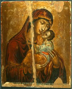 """""""Virgin Glykophilousa,"""" The Sinai Icon Collection Religious Images, Religious Icons, Religious Art, Byzantine Art, Byzantine Icons, Statues, Paint Icon, Images Of Mary, Blessed Mother Mary"""