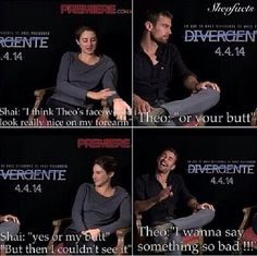 Hahahahaha Theo James and Shailene Woodley I don't think I want to know what he was thinking. Divergent Theo James, Divergent Memes, Divergent Fandom, Divergent Trilogy, Divergent Insurgent Allegiant, It Movie Cast, It Cast, Theo Theo, Tris And Four
