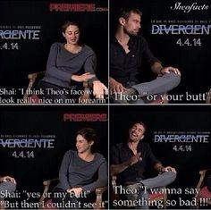 Hahahahaha Theo James and Shailene Woodley I wanna know what he was thinking