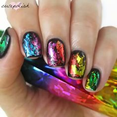 Nail Art Transfer Foils you can create amazing nails.With Nail Art Transfer Foils you can create amazing nails. Foil Nail Designs, Nail Art Designs Videos, Nail Design Video, Nail Art Videos, Nails Design, Cute Nail Art, Cute Nails, My Nails, Foil Nail Art