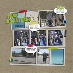 Park Adventures by Fab comic book style LO =) Comic Book Yearbook, Comic Book Layout, Comic Book Style, Comic Book Pages, Comic Books, Yearbook Class, Yearbook Theme, Yearbook Layouts, Scrapbook Page Layouts